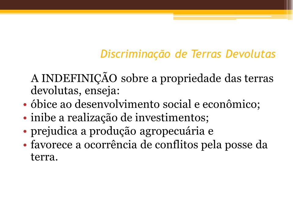 Discriminação de Terras Devolutas A INDEFINIÇÃO sobre a propriedade das terras devolutas, enseja: óbice ao desenvolvimento social e econômico; inibe a