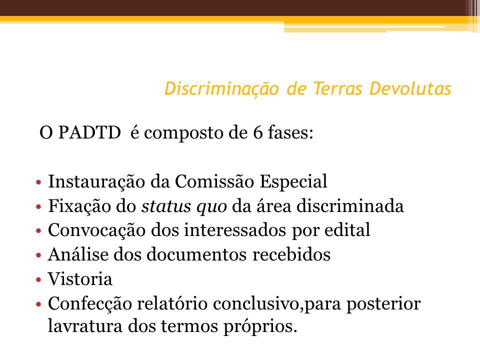 Discriminação de Terras Devolutas O PADTD é composto de 6 fases: Instauração da Comissão Especial Fixação do status quo da área discriminada Convocaçã