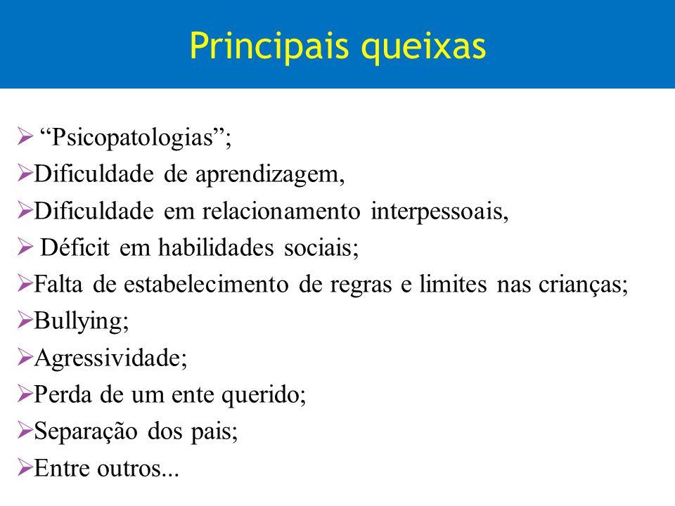 Principais queixas Psicopatologias; Dificuldade de aprendizagem, Dificuldade em relacionamento interpessoais, Déficit em habilidades sociais; Falta de