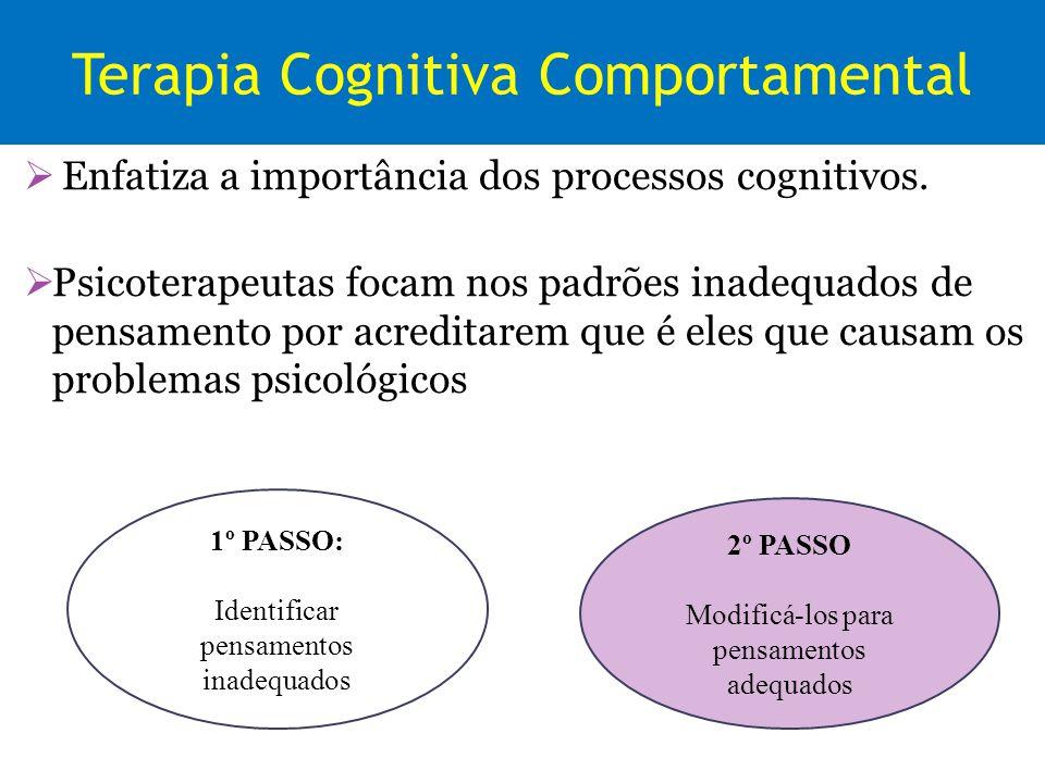 Terapia Cognitiva Comportamental Enfatiza a importância dos processos cognitivos. Psicoterapeutas focam nos padrões inadequados de pensamento por acre