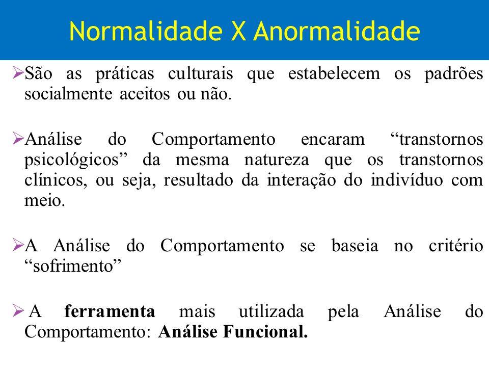 Normalidade X Anormalidade São as práticas culturais que estabelecem os padrões socialmente aceitos ou não. Análise do Comportamento encaram transtorn