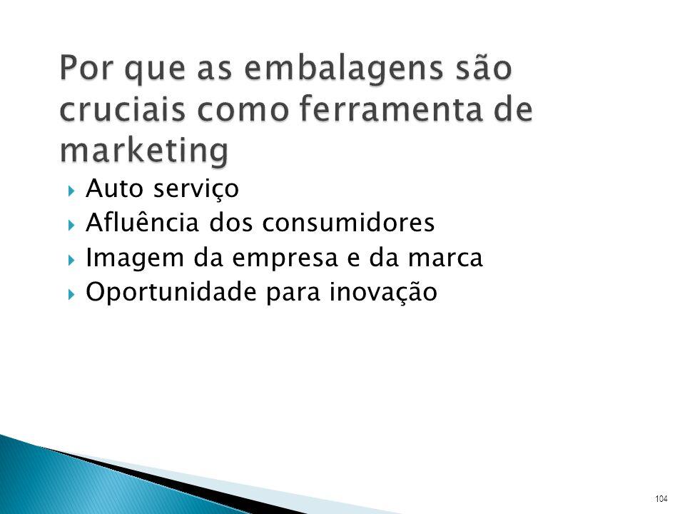 Auto serviço Afluência dos consumidores Imagem da empresa e da marca Oportunidade para inovação 104