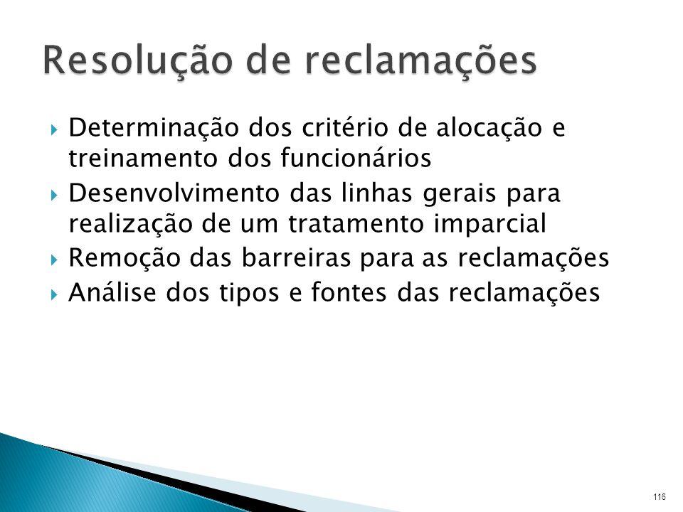 Determinação dos critério de alocação e treinamento dos funcionários Desenvolvimento das linhas gerais para realização de um tratamento imparcial Remoção das barreiras para as reclamações Análise dos tipos e fontes das reclamações 116