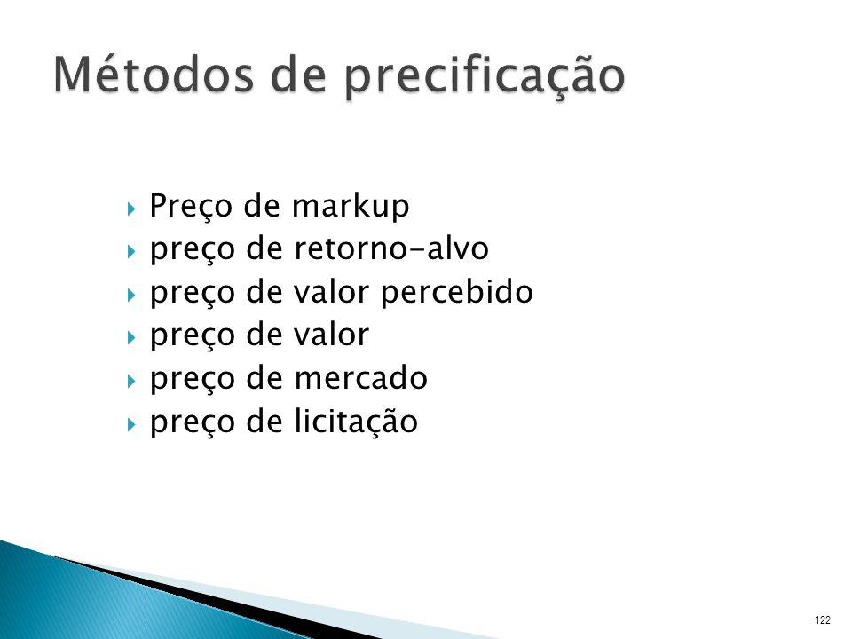 Preço de markup preço de retorno-alvo preço de valor percebido preço de valor preço de mercado preço de licitação 122