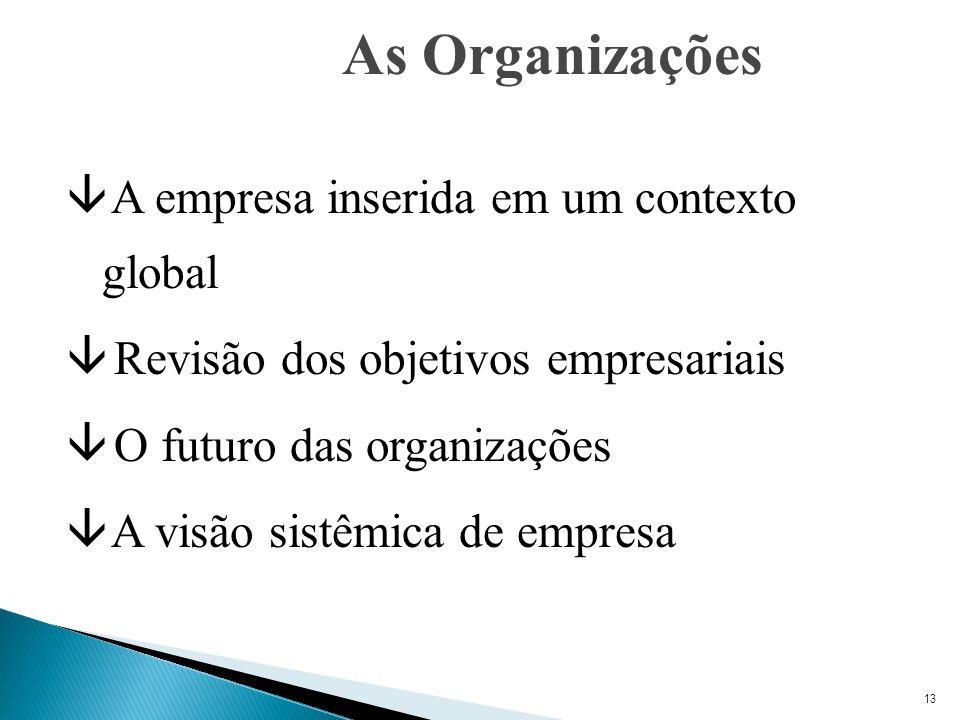 13 As Organizações â A empresa inserida em um contexto global â Revisão dos objetivos empresariais â O futuro das organizações â A visão sistêmica de empresa