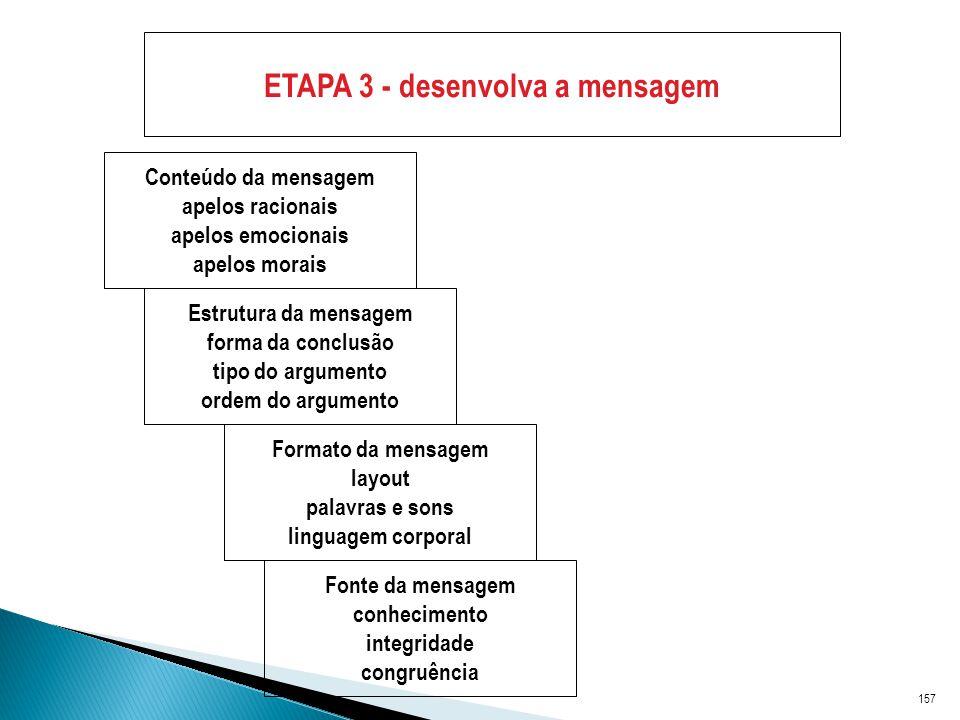 157 ETAPA 3 - desenvolva a mensagem Conteúdo da mensagem apelos racionais apelos emocionais apelos morais Estrutura da mensagem forma da conclusão tipo do argumento ordem do argumento Formato da mensagem layout palavras e sons linguagem corporal Fonte da mensagem conhecimento integridade congruência
