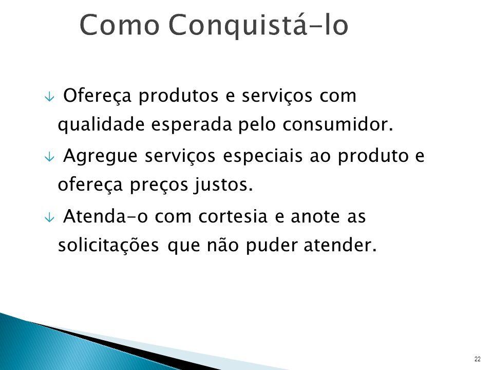 â Ofereça produtos e serviços com qualidade esperada pelo consumidor.