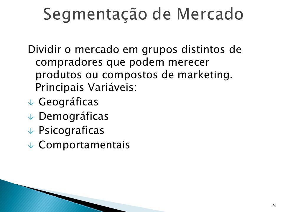 Dividir o mercado em grupos distintos de compradores que podem merecer produtos ou compostos de marketing.