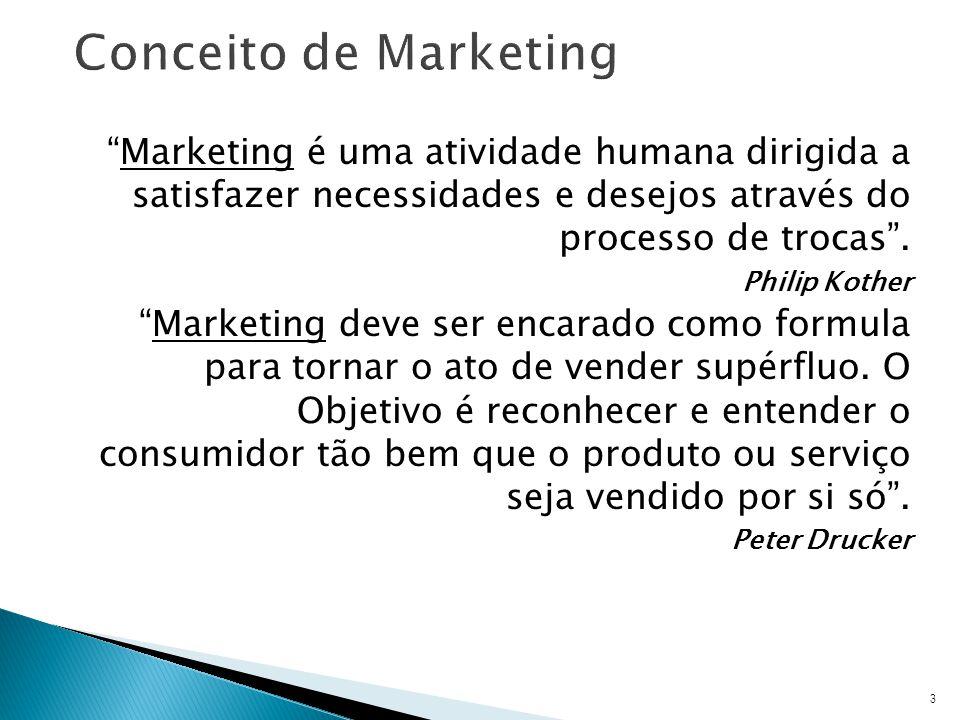 Marketing é uma atividade humana dirigida a satisfazer necessidades e desejos através do processo de trocas.