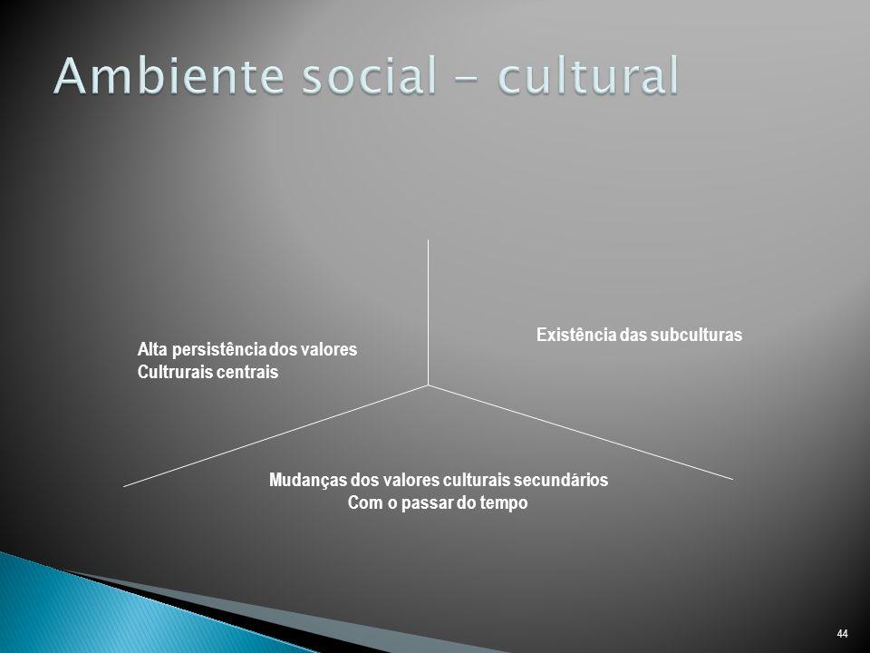 44 Alta persistência dos valores Cultrurais centrais Existência das subculturas Mudanças dos valores culturais secundários Com o passar do tempo