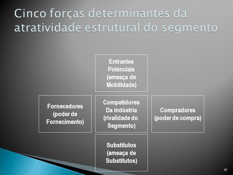 57 Entrantes Potenciais (ameaça de Mobilidade) Competidores Da indústria (rivalidade do Segmento) Substitutos (ameaça de Substitutos) Compradores (poder de compra) Fornecedores (poder de Fornecimento)