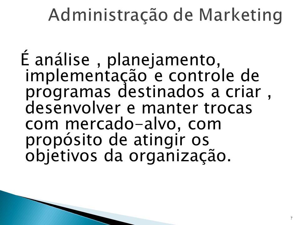 É análise, planejamento, implementação e controle de programas destinados a criar, desenvolver e manter trocas com mercado-alvo, com propósito de atingir os objetivos da organização.