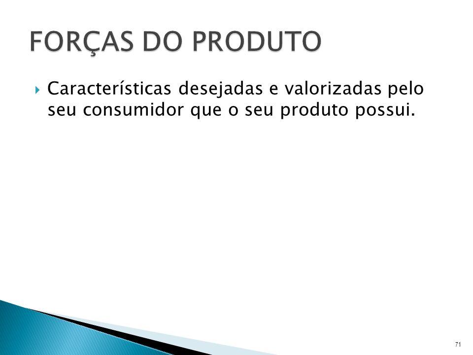 Características desejadas e valorizadas pelo seu consumidor que o seu produto possui. 71