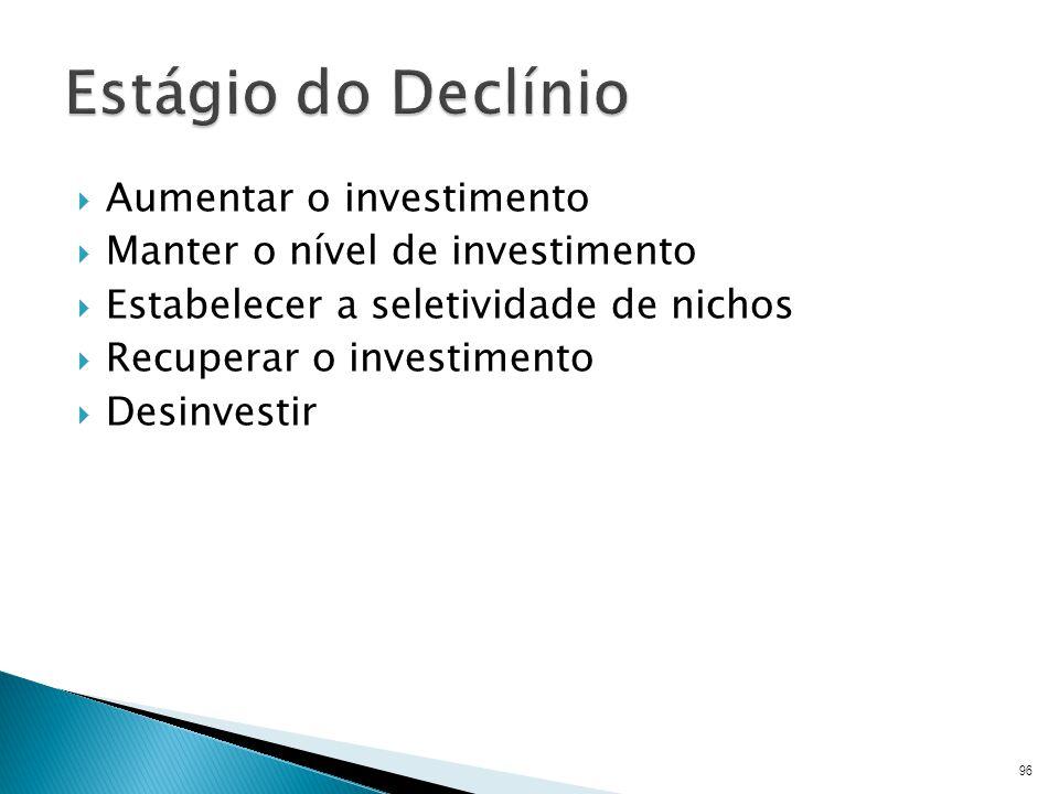 Aumentar o investimento Manter o nível de investimento Estabelecer a seletividade de nichos Recuperar o investimento Desinvestir 96