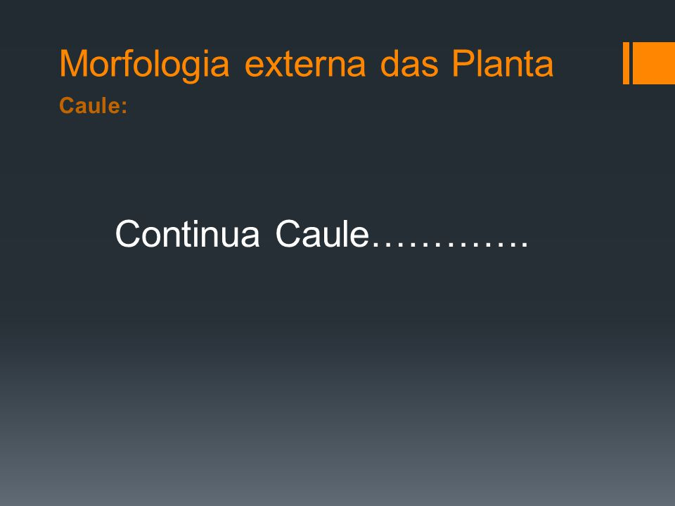 Morfologia externa das Planta Caule: Continua Caule………….
