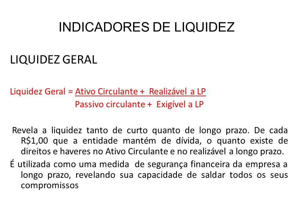 INDICADORES DE LIQUIDEZ LIQUIDEZ GERAL Liquidez Geral = Ativo Circulante + Realizável a LP Passivo circulante + Exigível a LP Revela a liquidez tanto