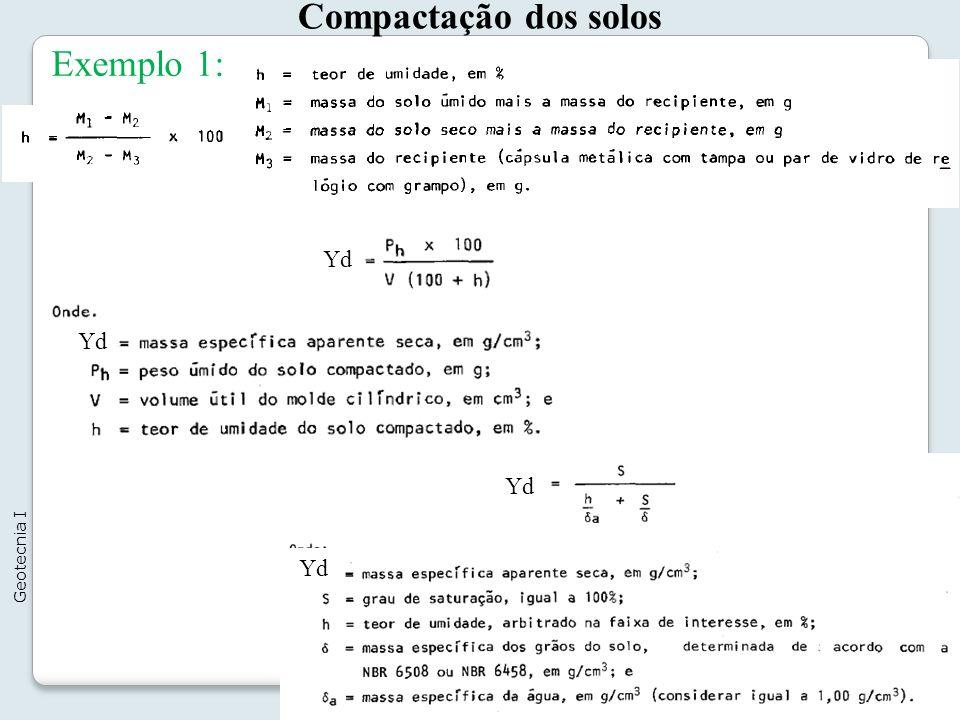 Compactação dos solos 11 Geotecnia I Exemplo 1: Yd