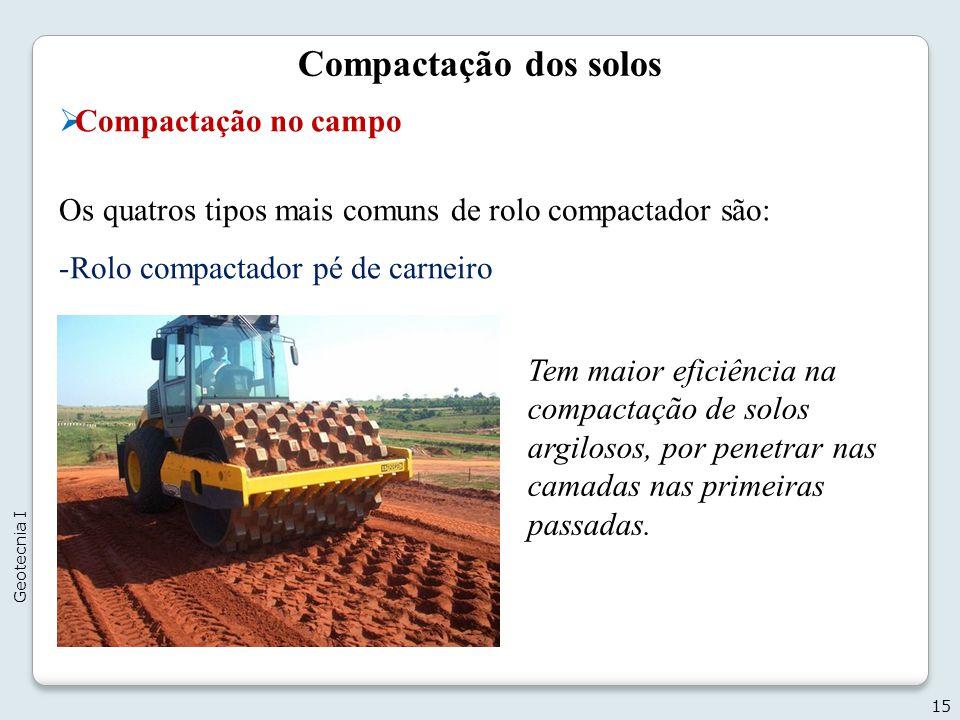 Compactação dos solos Compactação no campo Os quatros tipos mais comuns de rolo compactador são: -Rolo compactador pé de carneiro 15 Geotecnia I Tem m
