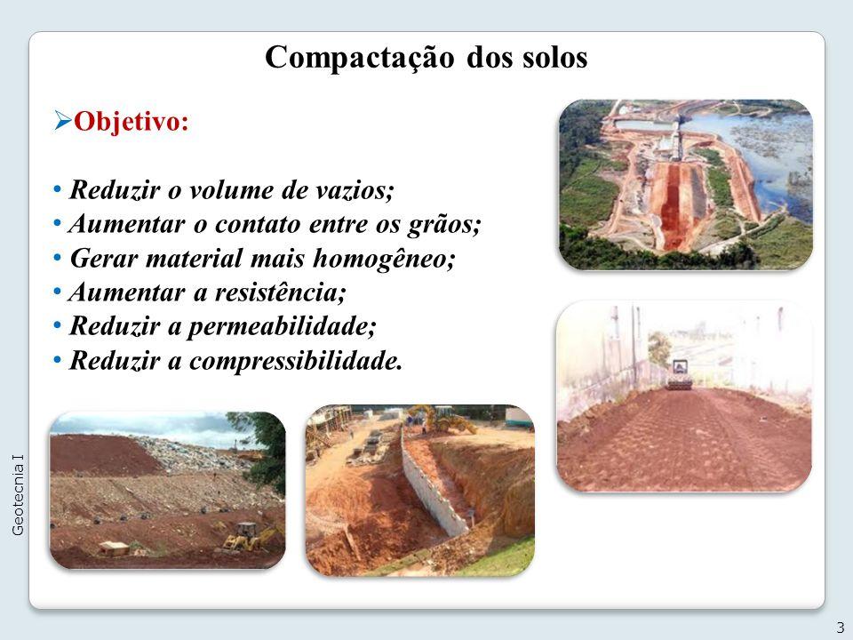 Compactação dos solos Objetivo: Reduzir o volume de vazios; Aumentar o contato entre os grãos; Gerar material mais homogêneo; Aumentar a resistência;