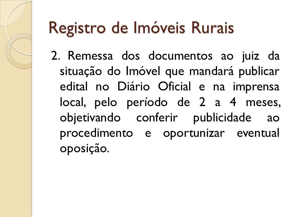 Registro de Imóveis Rurais 3.