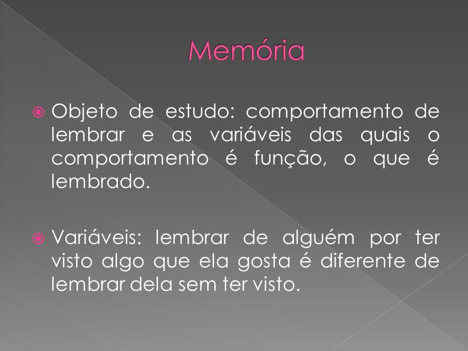 Objeto de estudo: comportamento de lembrar e as variáveis das quais o comportamento é função, o que é lembrado. Variáveis: lembrar de alguém por ter v