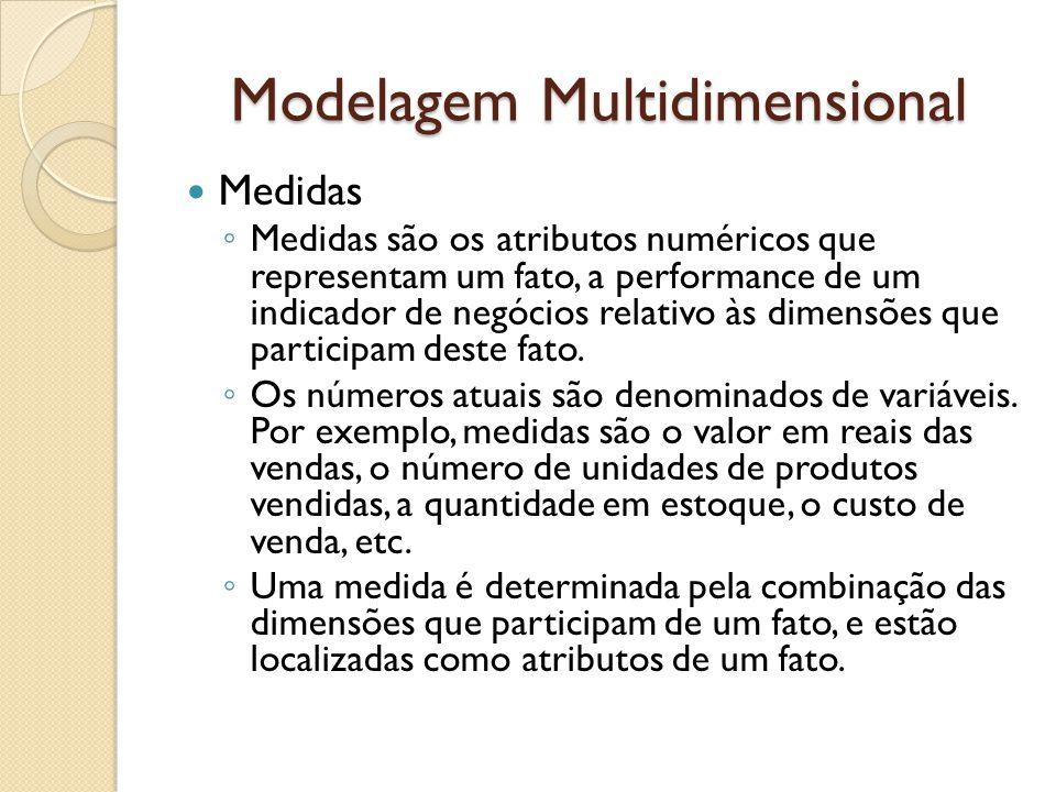 Modelagem Multidimensional Medidas Medidas são os atributos numéricos que representam um fato, a performance de um indicador de negócios relativo às dimensões que participam deste fato.