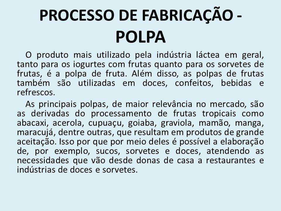 PROCESSO DE FABRICAÇÃO - POLPA O produto mais utilizado pela indústria láctea em geral, tanto para os iogurtes com frutas quanto para os sorvetes de frutas, é a polpa de fruta.