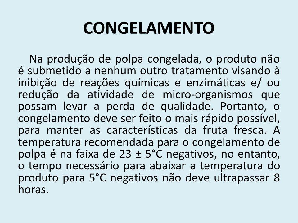 CONGELAMENTO Na produção de polpa congelada, o produto não é submetido a nenhum outro tratamento visando à inibição de reações químicas e enzimáticas