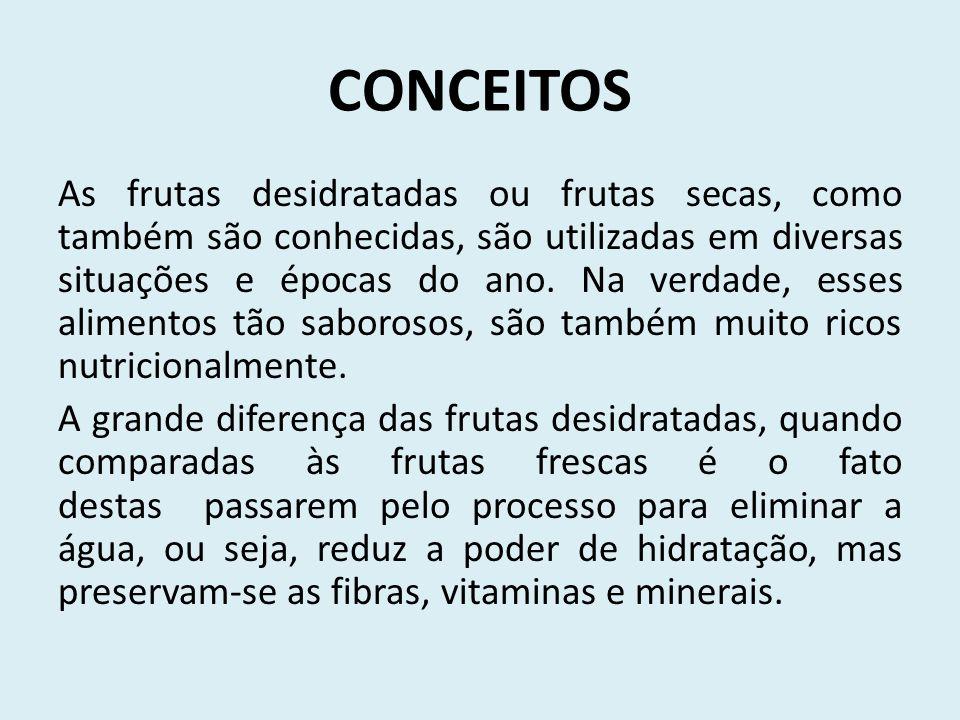 CONCEITOS As frutas desidratadas ou frutas secas, como também são conhecidas, são utilizadas em diversas situações e épocas do ano.