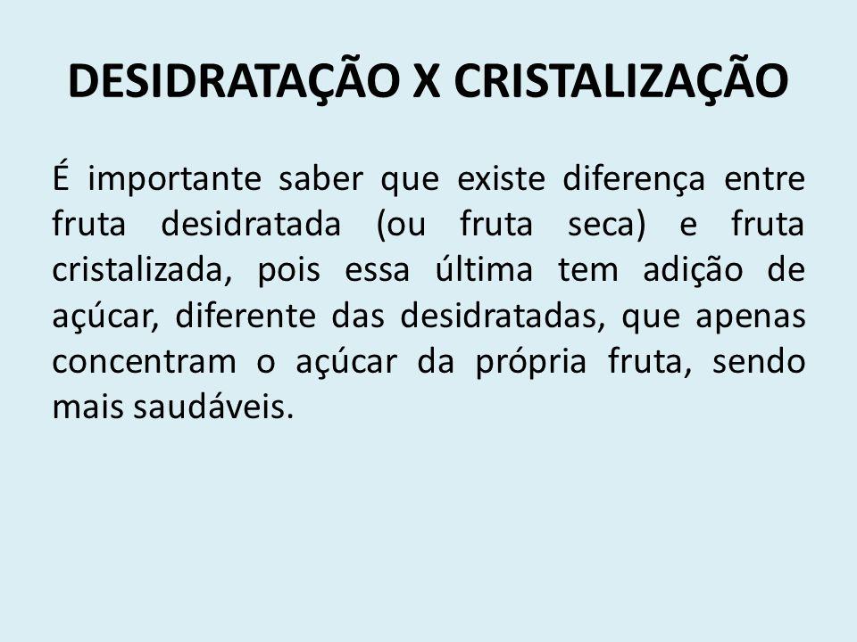 DESIDRATAÇÃO X CRISTALIZAÇÃO É importante saber que existe diferença entre fruta desidratada (ou fruta seca) e fruta cristalizada, pois essa última te