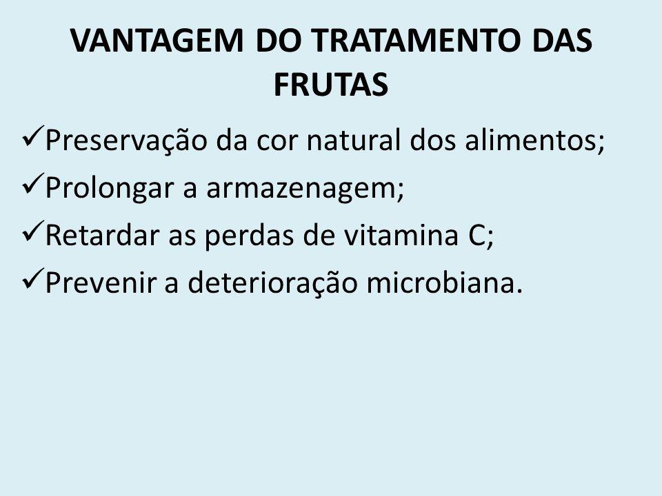 VANTAGEM DO TRATAMENTO DAS FRUTAS Preservação da cor natural dos alimentos; Prolongar a armazenagem; Retardar as perdas de vitamina C; Prevenir a dete