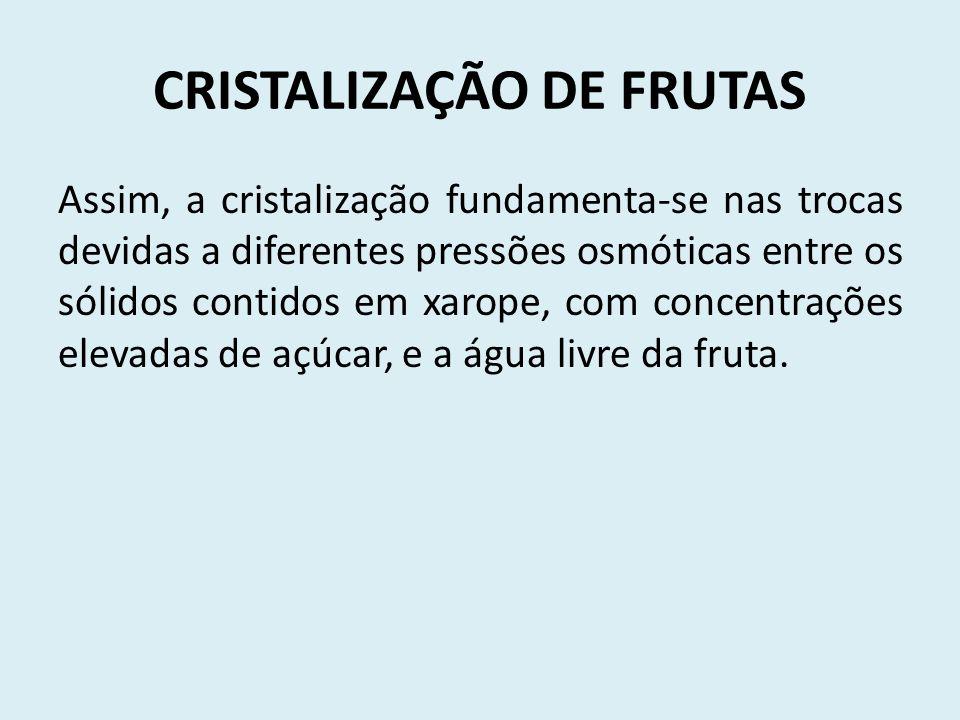 CRISTALIZAÇÃO DE FRUTAS Assim, a cristalização fundamenta-se nas trocas devidas a diferentes pressões osmóticas entre os sólidos contidos em xarope, com concentrações elevadas de açúcar, e a água livre da fruta.