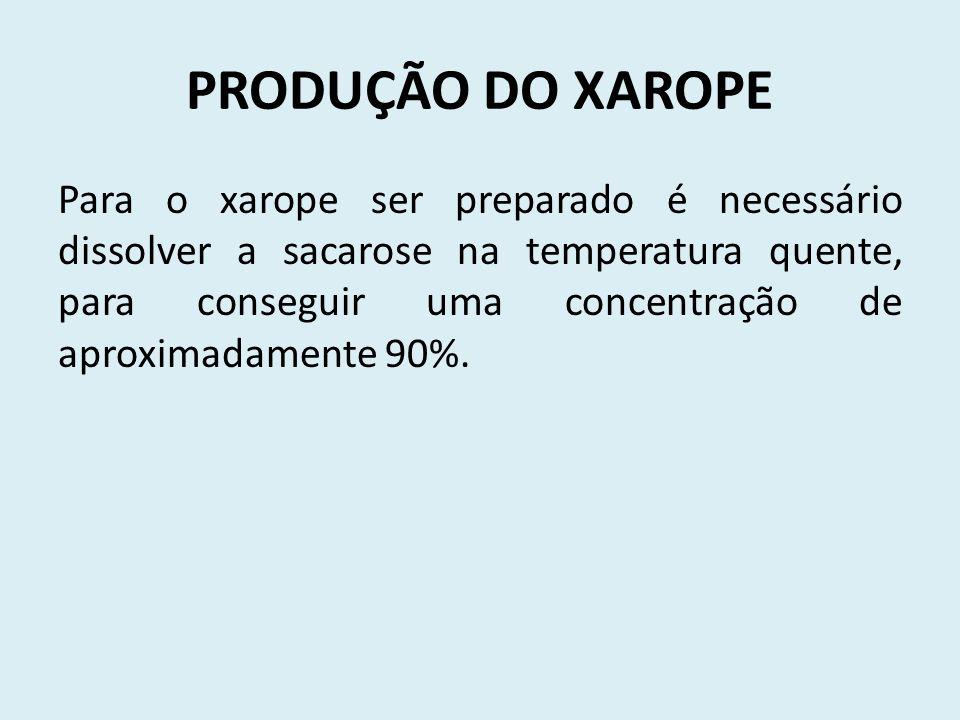PRODUÇÃO DO XAROPE Para o xarope ser preparado é necessário dissolver a sacarose na temperatura quente, para conseguir uma concentração de aproximadamente 90%.