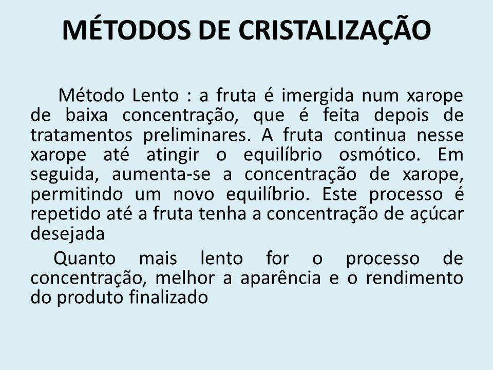 MÉTODOS DE CRISTALIZAÇÃO Método Lento : a fruta é imergida num xarope de baixa concentração, que é feita depois de tratamentos preliminares. A fruta c