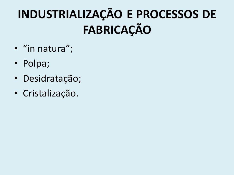 INDUSTRIALIZAÇÃO E PROCESSOS DE FABRICAÇÃO in natura; Polpa; Desidratação; Cristalização.