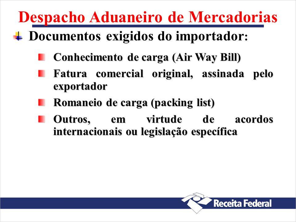 Despacho Aduaneiro de Mercadorias Registro do despacho aduaneiro de importação: Siscomex DI - IN RFB nº 680/2006 DSI (até US$ 3 mil) - IN RFB n o 611/