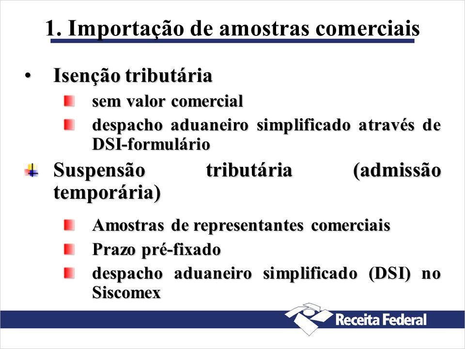 Facilidades Aduaneiras 1. Importação de amostras comerciais 2. Importação para feiras, exposições, testes etc. 3. Despacho aduaneiro rápido (Linha Azu