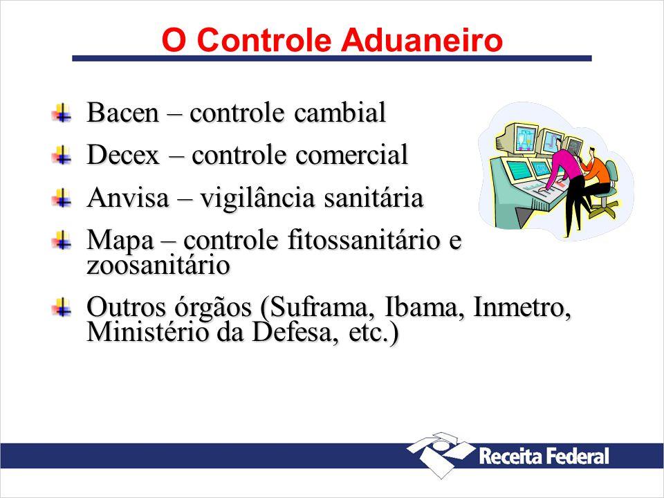 Bacen – controle cambial Decex – controle comercial Anvisa – vigilância sanitária Mapa – controle fitossanitário e zoosanitário Outros órgãos (Suframa, Ibama, Inmetro, Ministério da Defesa, etc.)