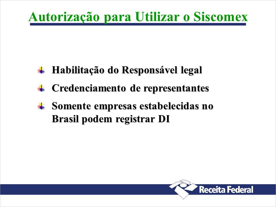 Autorização para Utilizar o Siscomex Habilitação do Responsável legal Credenciamento de representantes Somente empresas estabelecidas no Brasil podem registrar DI