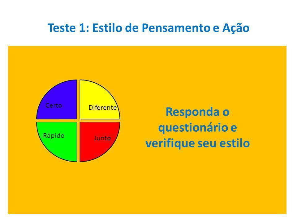 Teste 1: Estilo de Pensamento e Ação Responda o questionário e verifique seu estilo Diferente Junto Certo Rápido