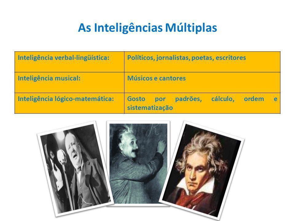 Inteligência verbal-lingüística:Políticos, jornalistas, poetas, escritores Inteligência musical:Músicos e cantores Inteligência lógico-matemática:Gosto por padrões, cálculo, ordem e sistematização As Inteligências Múltiplas