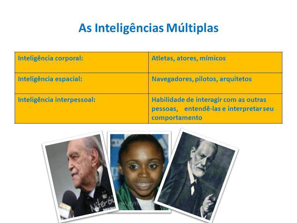 Inteligência corporal:Atletas, atores, mímicos Inteligência espacial:Navegadores, pilotos, arquitetos Inteligência interpessoal:Habilidade de interagir com as outras pessoas, entendê-las e interpretar seu comportamento As Inteligências Múltiplas