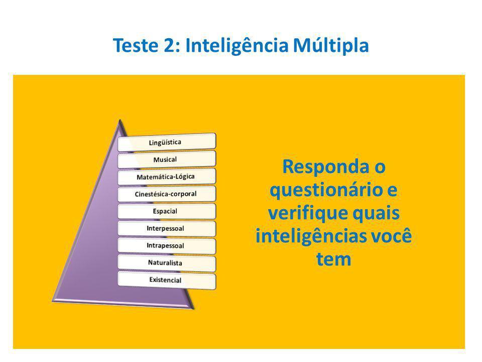 Teste 2: Inteligência Múltipla Responda o questionário e verifique quais inteligências você tem