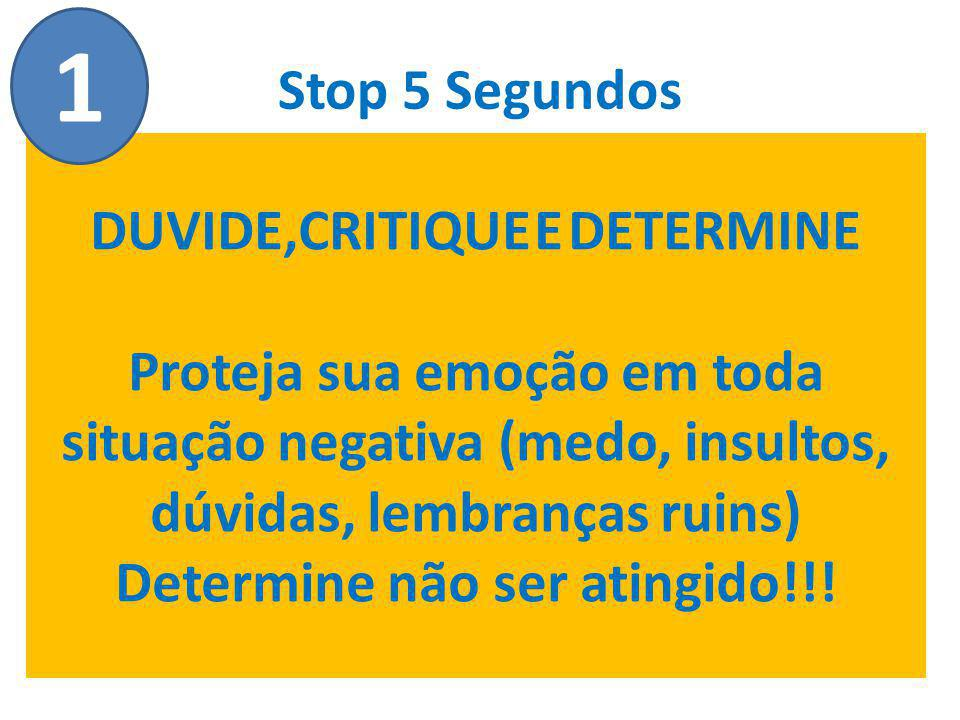 Stop 5 Segundos DUVIDE,CRITIQUE E DETERMINE Proteja sua emoção em toda situação negativa (medo, insultos, dúvidas, lembranças ruins) Determine não ser atingido!!.