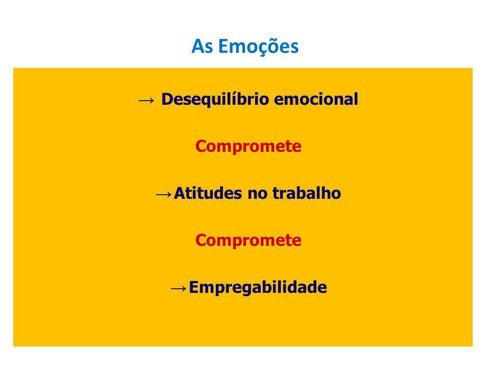 Desequilíbrio emocional Compromete Atitudes no trabalho Compromete Empregabilidade As Emoções