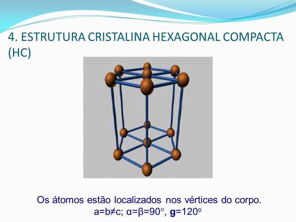 4. ESTRUTURA CRISTALINA HEXAGONAL COMPACTA (HC) Os átomos estão localizados nos vértices do corpo. a=bc; α=β=90°, g=120 o