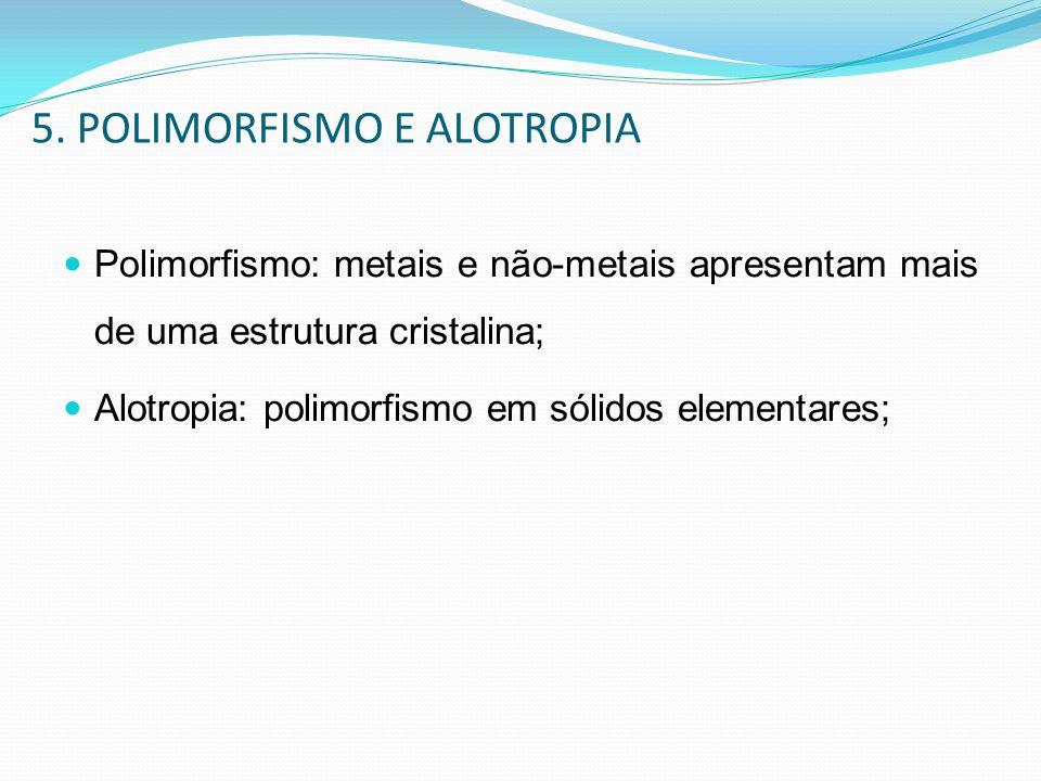 5. POLIMORFISMO E ALOTROPIA Polimorfismo: metais e não-metais apresentam mais de uma estrutura cristalina; Alotropia: polimorfismo em sólidos elementa