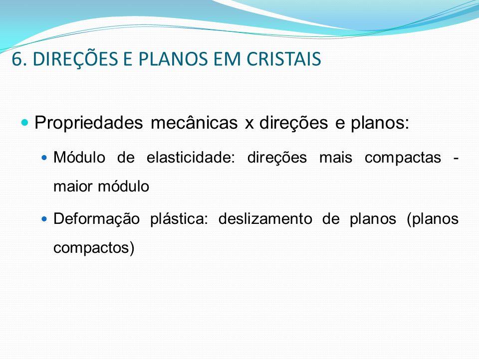 6. DIREÇÕES E PLANOS EM CRISTAIS Propriedades mecânicas x direções e planos: Módulo de elasticidade: direções mais compactas - maior módulo Deformação