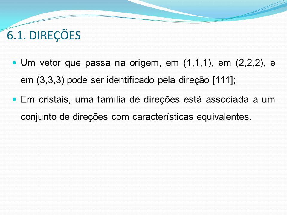 6.1. DIREÇÕES Um vetor que passa na origem, em (1,1,1), em (2,2,2), e em (3,3,3) pode ser identificado pela direção [111]; Em cristais, uma família de