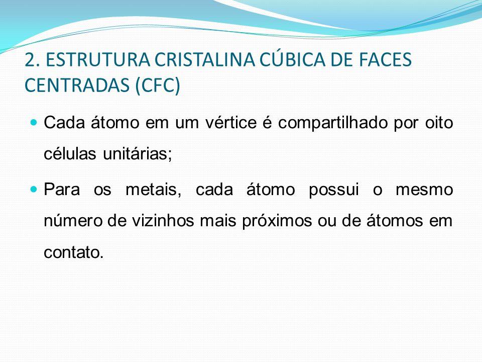 2. ESTRUTURA CRISTALINA CÚBICA DE FACES CENTRADAS (CFC) Cada átomo em um vértice é compartilhado por oito células unitárias; Para os metais, cada átom